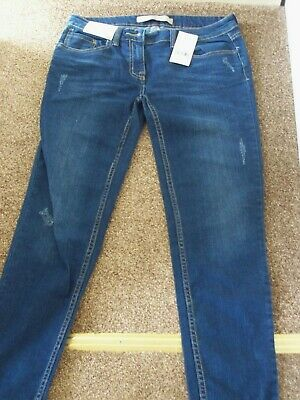Bnwt Next Lovely Blue Ankle Slim Distressed  Denim Jeans   Sz 10 Xl