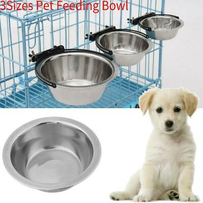 Stainless Steel Hanging Dog Pet Feeding Water Bowl Attractive Design 3 Sizes New