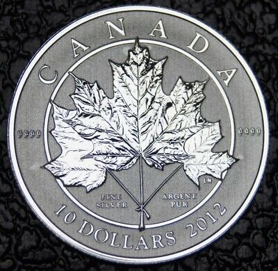 CANADIAN GEM 2012 10 DOLLARS .9999 Fine SILVER 1/2 oz MAPLE LEAF SCARCE Rare