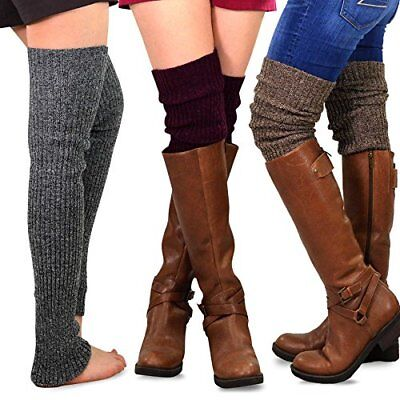 TeeHee Gift Box Women's Fashion Extra Long Thigh High Leg Warmers 3-Pack (Marled