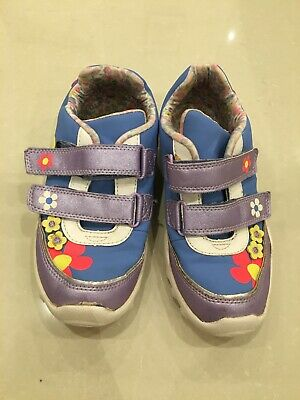 M&S Girls Flash Light Up Trainers Blue & Purple Size 12 Velcro Fastening