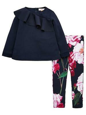 Ted Baker Girls Navy Frill Set Top Age 11-12 & Floral print leggings 9-10 years