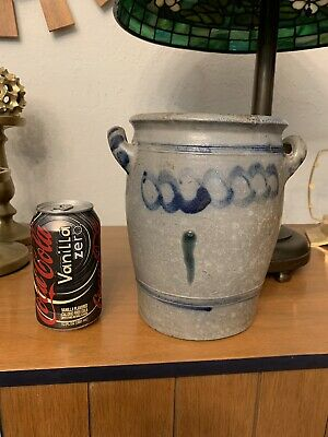 Antique 19th Century Stoneware Crock w Handles  Cobalt Blue Salt Glazed