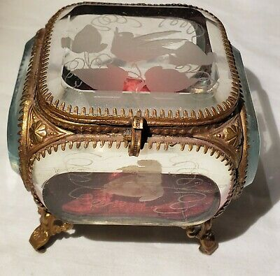 Antique French Etched Beveled Glass Footed Casket Trinket Box Brass Filigree