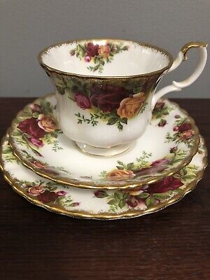 Vintage Royal Albert Old Country Rose Cup Saucer Footed montrose + side plate