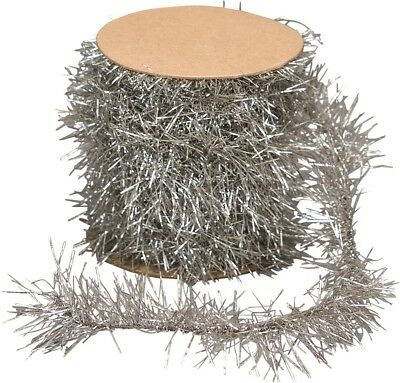 Primitive Vintage Look Silver Tinsel Garland 12' Mini Embellish Feather Tree
