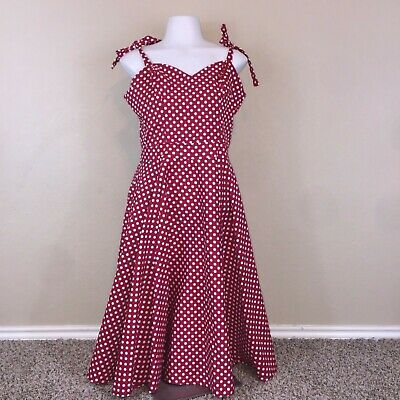 Bettie Page Queen Of Pinups Red White Polka Dot Shoulder Ties Full Skirt Dress