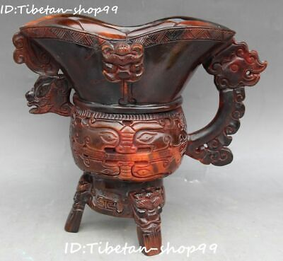 China Marked Ox Horn Oxhorn Carving Dragon Beast Head cann Goblet wineglass cup