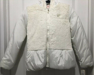 Juicy Couture Girls Kids Puffer Down Hooded Jacket Winter White Coat Size 12
