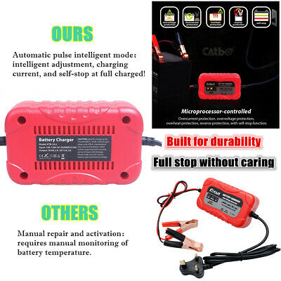 6V 12V 2A Automatic Trickle Battery Charger Maintainer Booster Car Caravan Boat