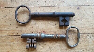 Two Antique Old Early Large Size Ornate Lock End Old English Church ? Keys