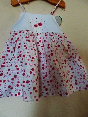 VERTBAUDET Baby Girls White and Pink Floral sleeveless dress 9 months bnwt