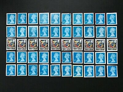 100 x  UNFRANKED   2nd class stamps   'ON'   paper. No Gum -  Face Value £61
