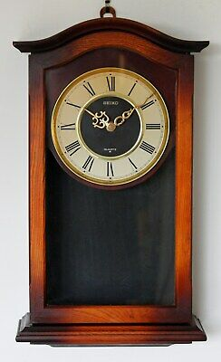 Vintage 47cm Seiko Wooden Wall Clock - Retro Country Long Antique Gift