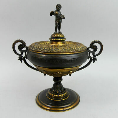ANTIQUE FRENCH FIGURAL BRONZE CUP & COVER 19th CENTURY