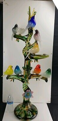 Enrico Camozzo Italian Murano Tree Interchangeable Birds Art Glass Sculpture 42""