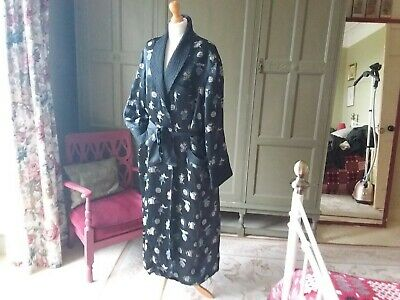 Mens Vintage Silk Chinese Dressing Gown Smoking Jacket M Black Good Condition