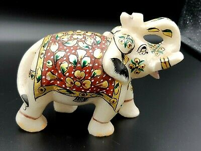 Large Antique Vintage Hand Carved Marble Stone Indian Elephant Ornament Gold
