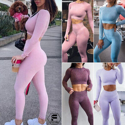 Womens Seamless Yoga Suit Crop Top+Legging Thumbhole Sport Ruched Workout Sets F