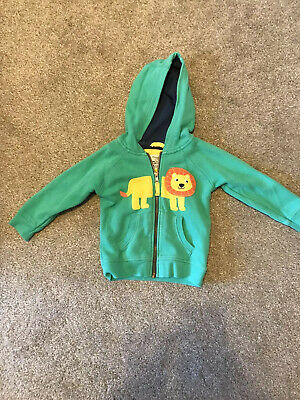 Frugi Boys Zip Up Green Lion Hoody Age 18-24 Months 100% Organic Cotton