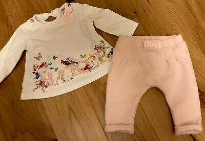 Ted Baker Pink  And White Baby Girls Outfit Age 3-6 Months Excellent Condition