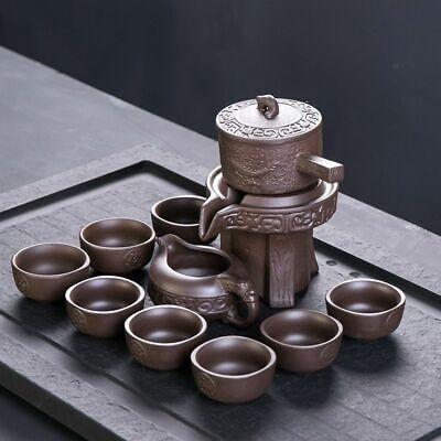 Creative Purple Clay Stone Grinding Kung Fu Tea Ceremony Drinkware Set Supplies