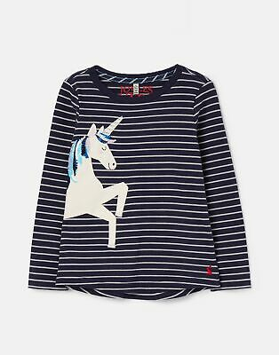 Joules Girls Ava Applique T Shirt 1 12 Years in SILVER STRIPE UNICORN