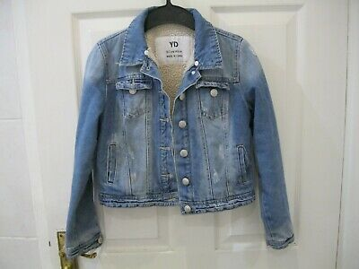 Yd Primark Girls Denim Jacket Size 10 - 11 Years Borg Fleece Teddy Coat Kids