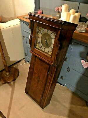 An 18th Century Oak Tavern Wall Clock with Later Single Fusee Movement