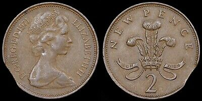 Elizabeth II. Royal Mint Error 2p, 1971. Clipped Planchet.