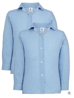 2x Girls School Long Sleeve Checked Blouse Blue/White Trutex J Lewis Age 9/10