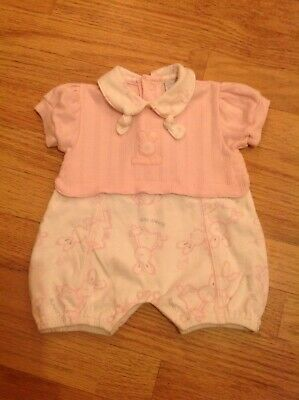 New Baby Pink And White Bunny Design Girls Romper Playsuit Age Newborn Vintage