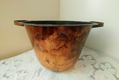 Antique Vtg Large Solid Copper Pot Handmade w/Dovetail Seam & Handles