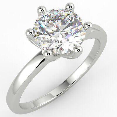 1.1 Ct Round Cut SI2/D Solitaire Diamond Engagement Ring 14K White Gold