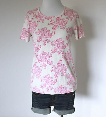 Ladies Pink Floral Crewneck Short Sleeve Stretch Knit Tee Shirt Top Blouse S 4 6