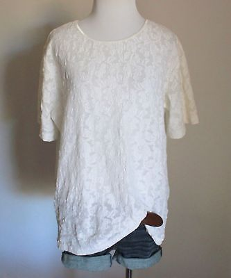 Women's Plus Floral Mesh Lace Crewneck Short Sleeve Knit Shirt Blouse Top 14 16