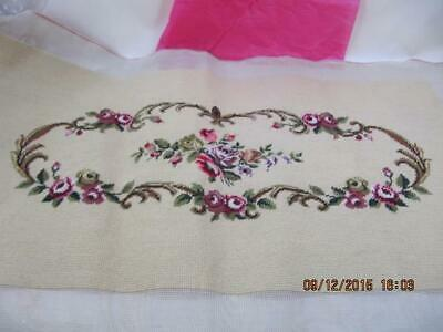 Completed Needlepoint Crewel Canvas Embroidery Floral Bench Seat Cover