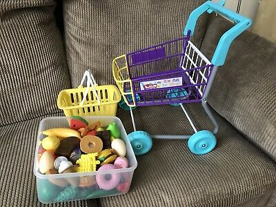 Play shopping trolley, basket and plastic play food, Lovely Clean Condition