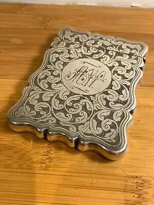Antique Victorian silver plated card case card holder scrolling foliage design