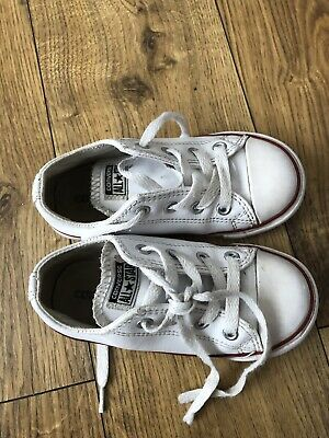 Unisex White Leather Converse Size 9 Junior Good Used Condition Hardly Worn