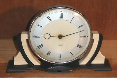 Vintage Smiths bakelite black and white mantel clock - classic Art Deco design
