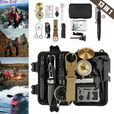 Outdoor Emergency Survival Gear Kit Camping Tactical Tools 13 in 1 EDC SOS Case