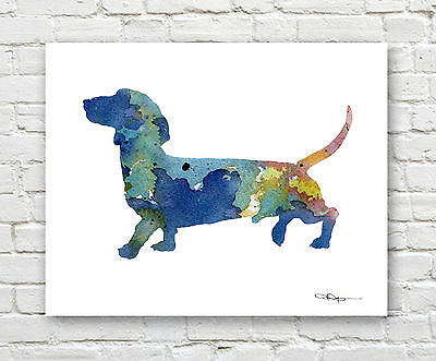 WOLF Contemporary Watercolor Abstract ART Print by Artist DJR