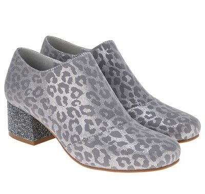Monsoon Storm Girls Leopard Grey /Silver Shoe Boots Uk 4 Eur 37 New!