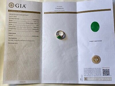 7.4 grams GIA Certified 18k Yellow Gold Jadeite Jade Diamond Ring Size 6