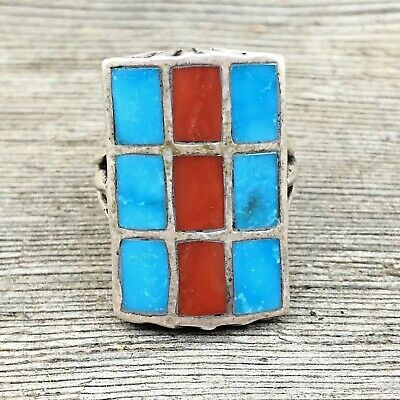 TURQUOISE Sterling Silver Coral GRID Inlay Mens Navajo Large 925 Ring Vintage 10
