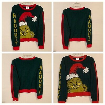 Dr Seuss The Grinch Naughty Sweater Women's Sz# Large Green & Red Holiday NEW
