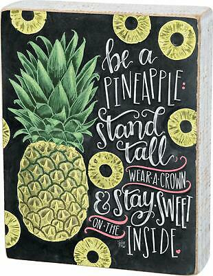 Primitives by Kathy Wooden Chalk Art Box Sign, 6 x 7.5-Inches, Be A Pineapple