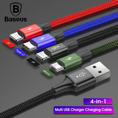 Baesus 4-in-1 Multi USB Charger Charging Cable Cord for iPhone Type C Micro USB