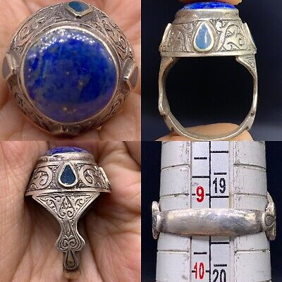 Lapis lazuli stone Wonderful Old Solid silver Lovely Ring
